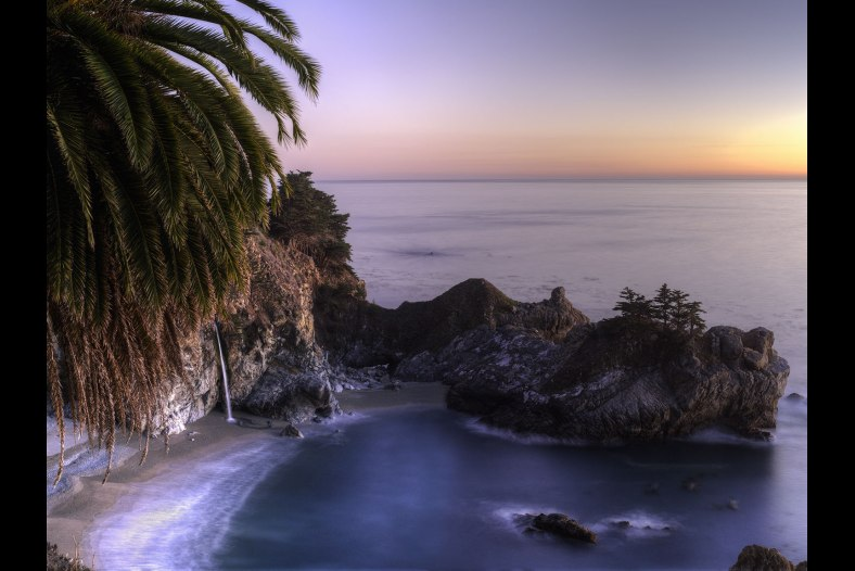 Pacific Falls and McKay Cove at sunset, Big Sur